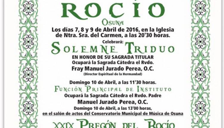 Hermandad de Osuna – Solemnes cultos Rocío 2016