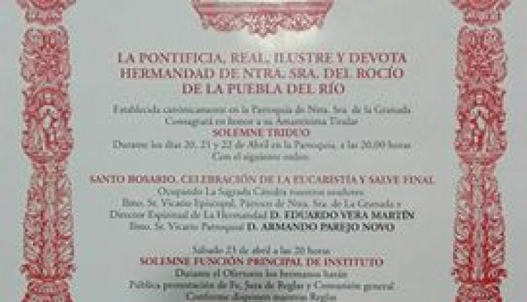 Hermandad de Puebla del Río – Solemnes Cultos Rocío 2016