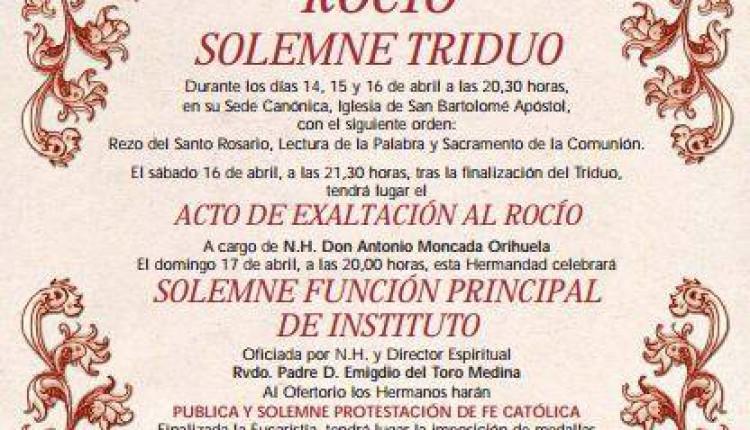 Hermandad de Rociana – Solemne Triduo y Pregón a cargo de Don Antonio Moncada Orihuela