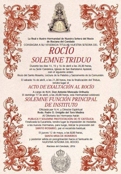 Rociana triduo 2016