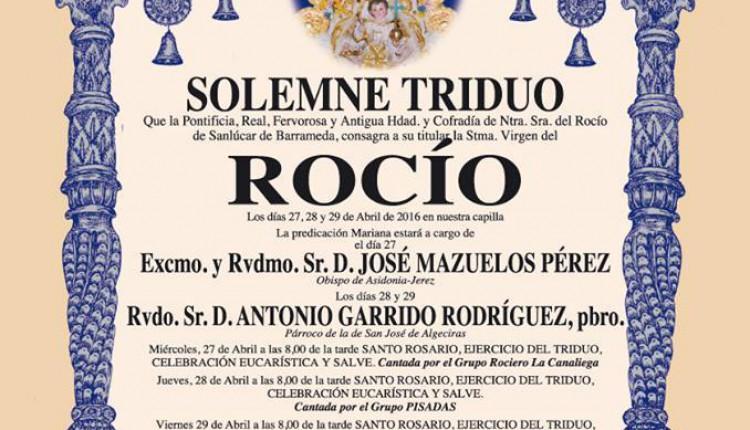 Hermandad de Sanlúcar de Barrameda – Solemne Triduo Rocío 2016