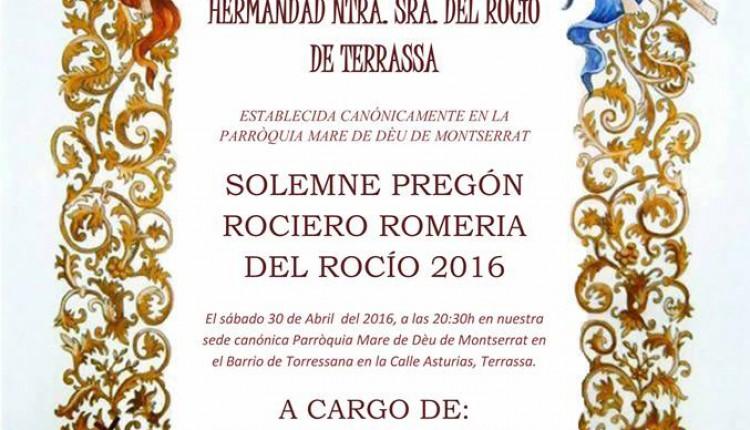 Hermandad de Terrassa – Pregón Rociero a cargo de Juan Carlos Casado Linares
