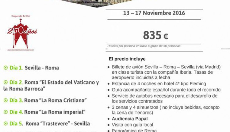 Hermandad de Villamanrique – Peregrinación a Roma 2016