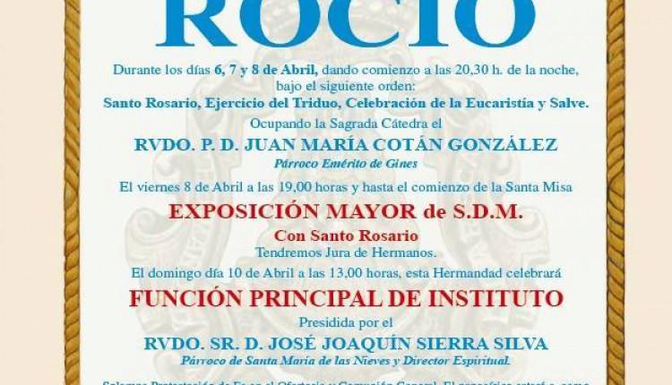 Hermandad de Villanueva del Ariscal – Solemne Triduo