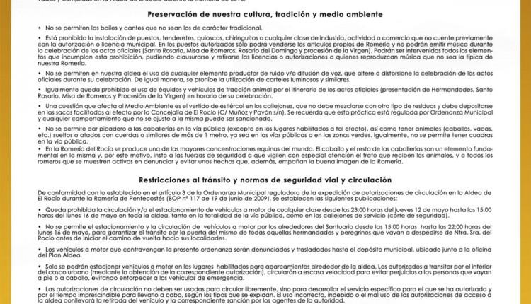 Bando Municipal del Ayuntamiento de Almonte con motivo de la Romería del Rocío 2016
