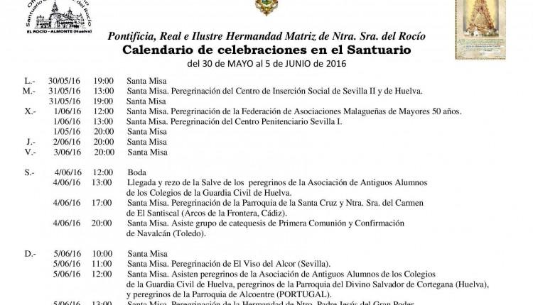Calendario de Celebraciones en el Santuario de El Rocío de 30 de mayo al 5 de junio de 2016