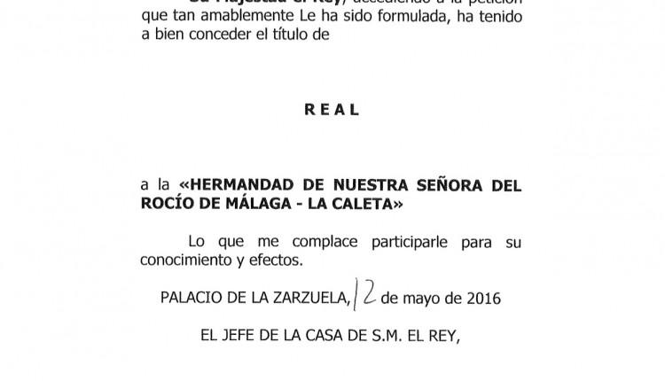"""Hermandad de La Caleta – Nombramiento como """"Real Hermandad"""""""