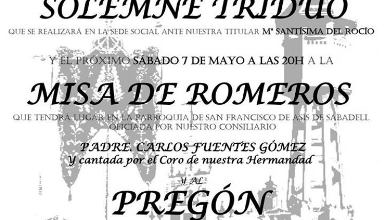 Hermandad de Sabadell – Solemne Triduo y Pregón a cargo de David Carrasco