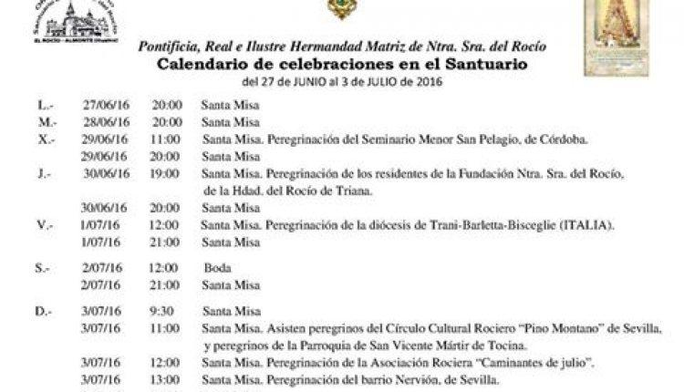 Calendario de Celebraciones en el Santuario de El Rocío del 27 de junio al 3 de julio de 2016
