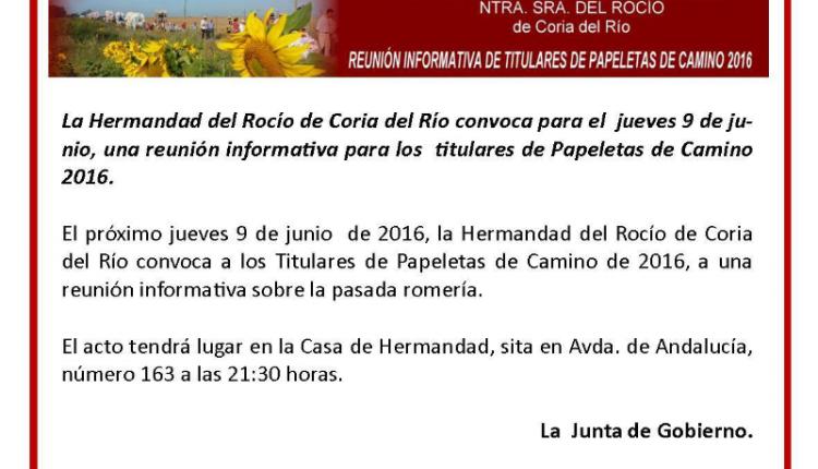 Hermandad de Coria – Reunión Informativa