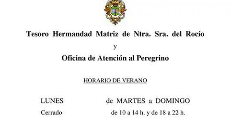 Horarios del Tesoro de la Hermandad Matriz y Oficina del Peregrino