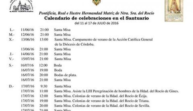 Calendario de Celebraciones en el santuario del Rocío del 11 al 17 de julio de 2016