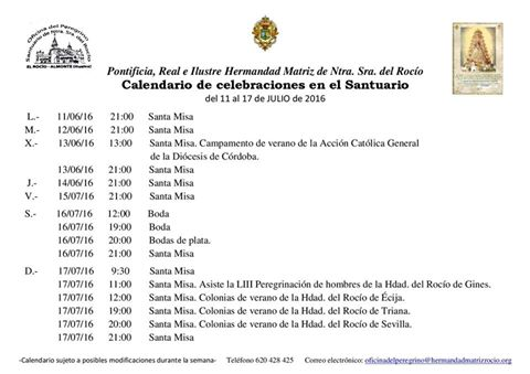 Calendario celebraciones en el santuario 11-17 julio