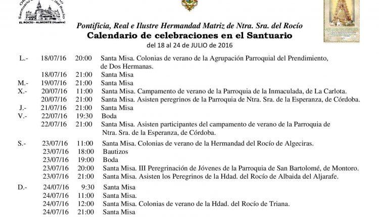 Calendario de Celebraciones en el Santuario del Rocío del 18 al 24 de julio de 2016