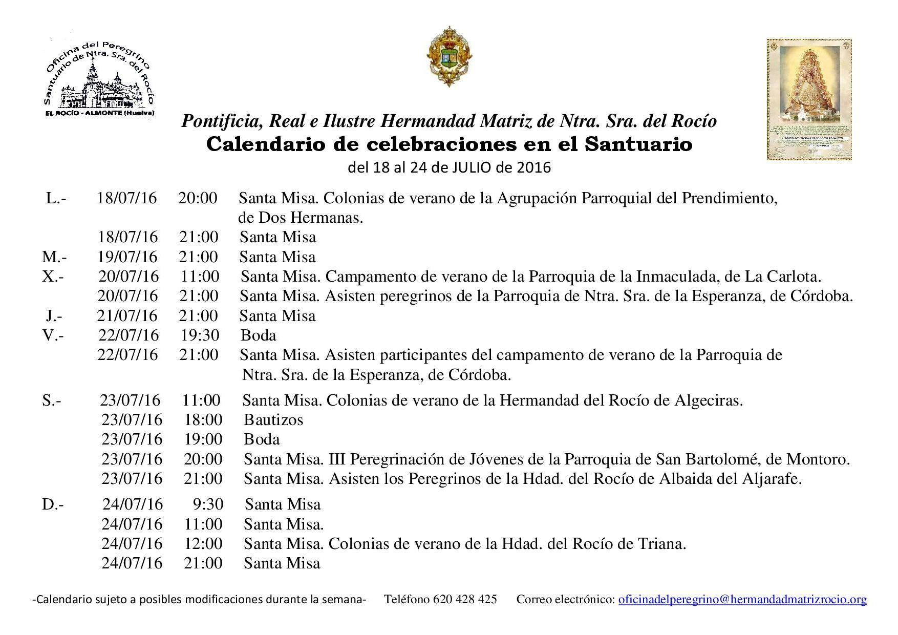 Calendario del 18 al 24 de julio 2016 santuario Rocio