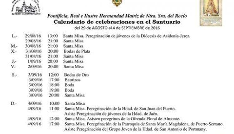 Calendario de Celebraciones en el Santuario del Rocío del 29 de agosto al 4 de septiembre