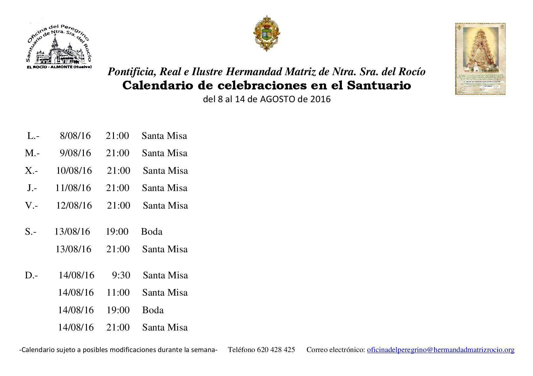 Calendario Santuario Rocio 8 al 14 de 8 de 2016