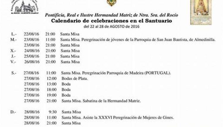 Calendario de Celebraciones en el Santuario del Rocío del 22 al 28 de agosto de 2016