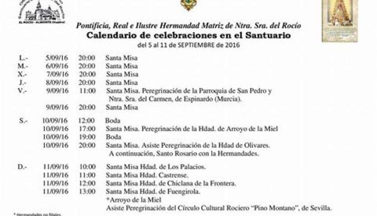 Calendario de Celebraciones en el Santuario del Rocío del 5 al 11 de septiembre de 2016