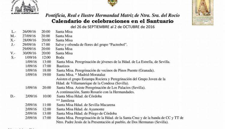 Calendario de Celebraciones en el Santuario del Rocío del 26 de septiembre al 2 de octubre de 2016