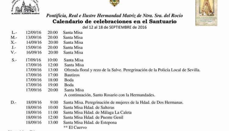 Calendario de Celebraciones en el Santuario del Rocío del 12 al 18 de septiembre de 2016
