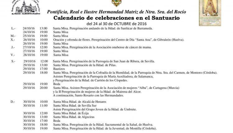 Calendario de Celebraciones en el Santuario del Rocío del 24 al 30 de octubre de 2016