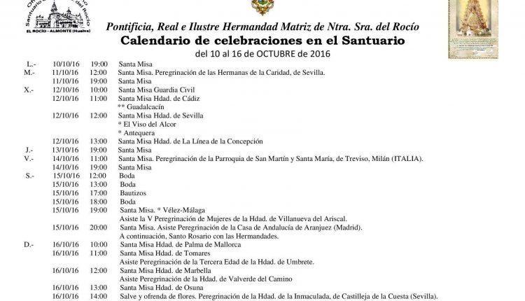 Calendario de Celebraciones en el Santuario del Rocío del 10 al 16 de octubre de 2016