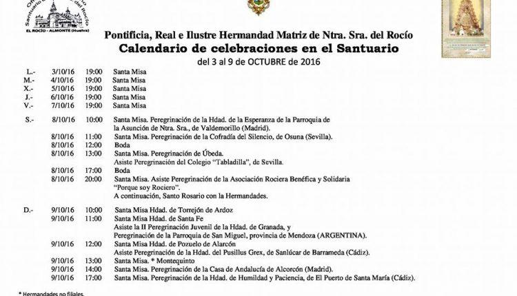 Calendario de Celebraciones en el Santuario del Rocío del 3 al 9 de octubre de 2016
