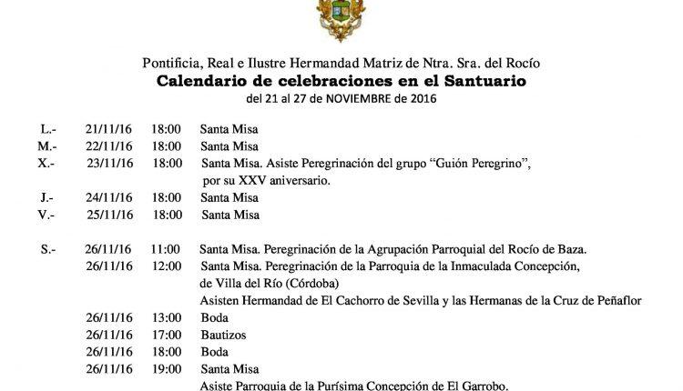 Calendario de Celebraciones en el Santuario del Rocío del 21 al 27 de noviembre de 2016
