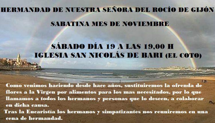 Hermandad de Gijón – Sabatina mes de Noviembre
