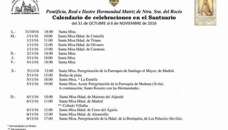 Calendario de Celebraciones en el Santuario del Rocío del 31 de octubre al 6 de noviembre