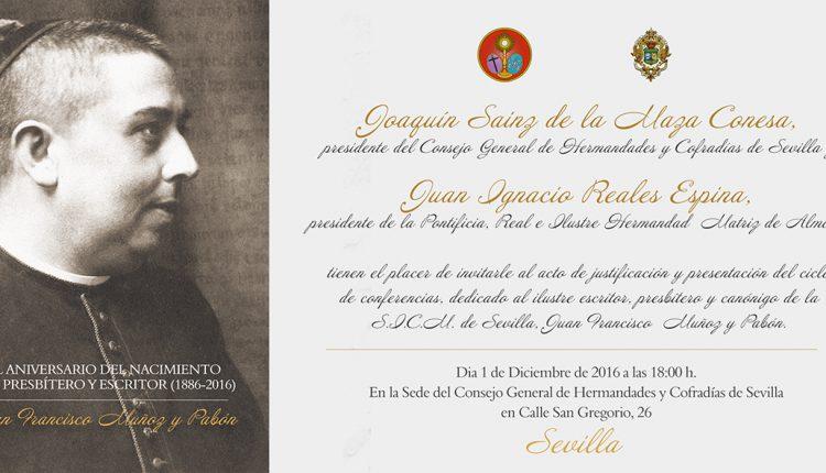 Programa de conferencias por el 150 aniversario del nacimiento del presbítero y escritor hinojero, Juan Francisco Muñoz y Pabón