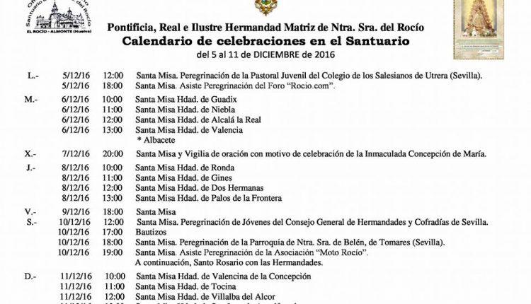 Calendario de Celebraciones en el  Santuario de El Rocío del 5 al 11 de diciembre 2016