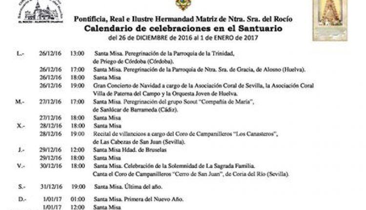Calendario de Celebraciones en el Santuario del Rocío del 26 de diciembre al 1 de enero de 2017