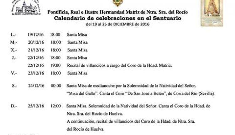 Calendario de Celebraciones en el Santuario del Rocio del 19 al 25 de diciembre 2016