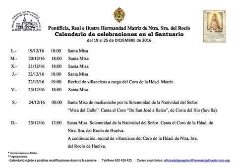 calendario-de-celebraciones-rocio-del-19-al-25-de-diciembre-2016
