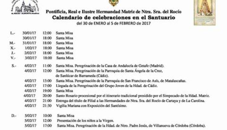Calendario de Celebraciones en el Santuario del Rocío del 30 de enero al 5 de febrero de 2017