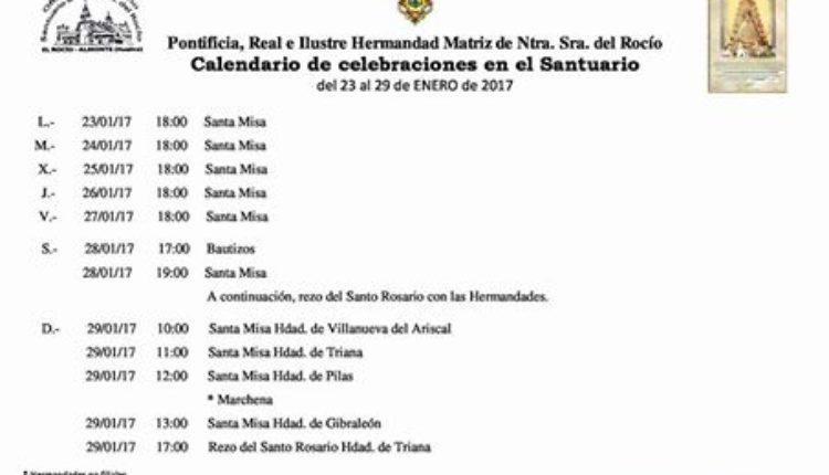 Calendario de Celebraciones en el Santuario del Rocío del 23 al 29 de enero de 2017