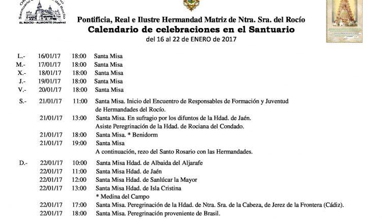Calendario de Celebraciones en el Santuario del Rocío del 16 al 22 de enero de 2017