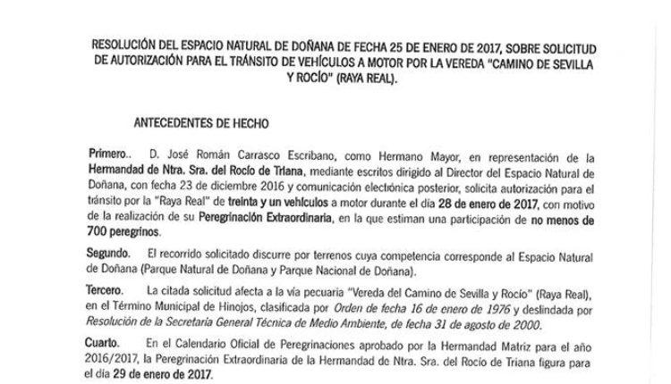 Hermandad de Triana – Resolución del espacio Natural de Doñana referente a la Peregrinación del próximo sábado 28 de enero de 2017
