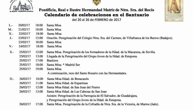 Calendario de Celebraciones en el Santuario del Rocio del 20 al 26 de febrero de 2017