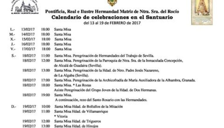 Calendario de Celebraciones en el Santuario del Rocío del 13 al 19 de febrero de 2017