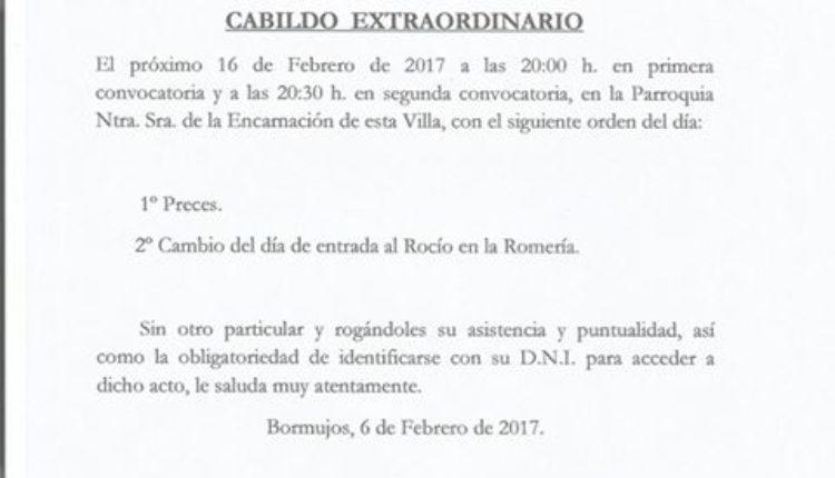 Hermandad de Bormujos – Cabildo Extraordinario, Cambio de Día de Entrada en el Rocío