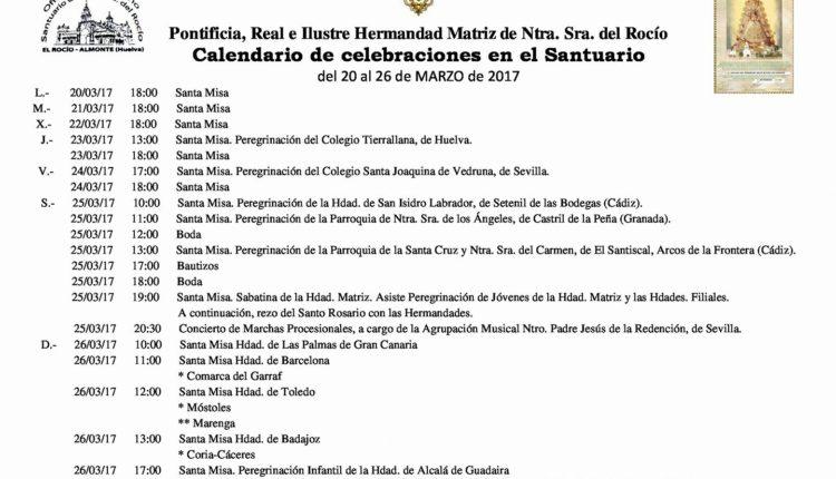 Calendario de Celebraciones en el Santuario del Rocío del 20 al 26 de marzo de 2017