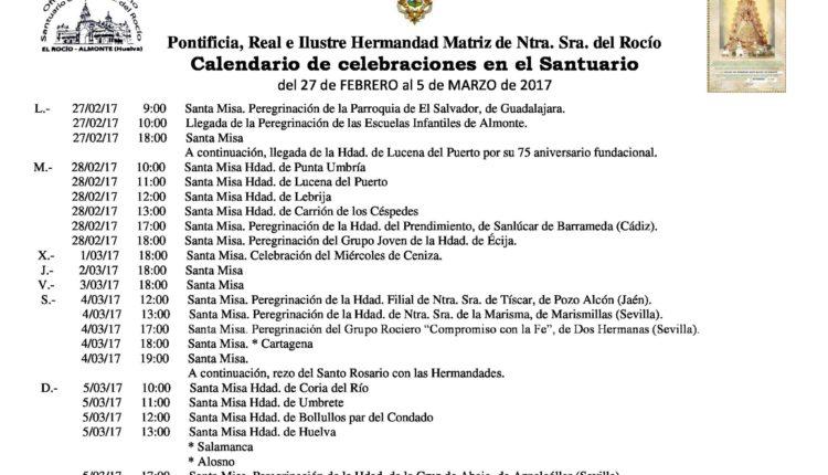 Calendario de Celebraciones en el Santuario del Rocío del 26 de febrero al 5 de marzo de 2017