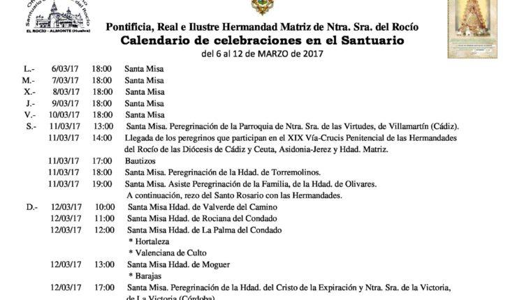 Calendario de Celebraciones en el Santuario del Rocío del 6 al 12 de marzo de 2017