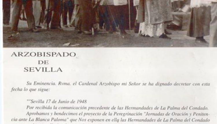 Hermandad de La Palma – Decreto de Cardenal Don Pedro Segura y Saénz, Arzobispo de Sevilla, concediendo indulgencia a los Peregrinos de La Palma en 1948.