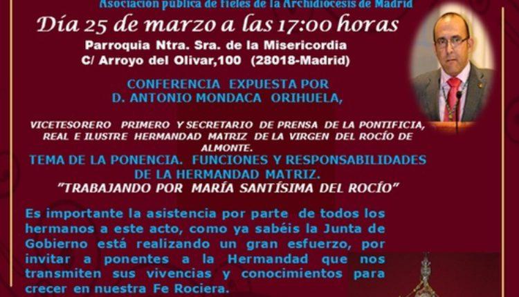 Hermandad de Madrid-La Estrella – VII Sabatina de la Solemne Novena y Charla-Coloquio