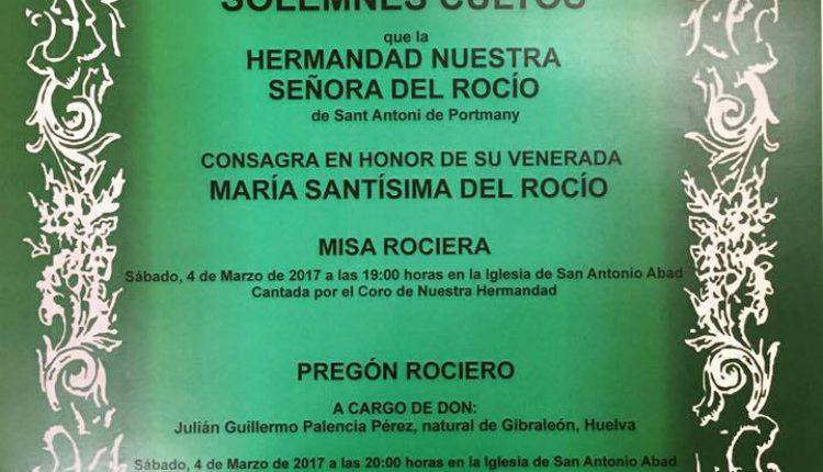 Hermandad de San Antonio de Portmany – Pregón y Solemnes Cultos