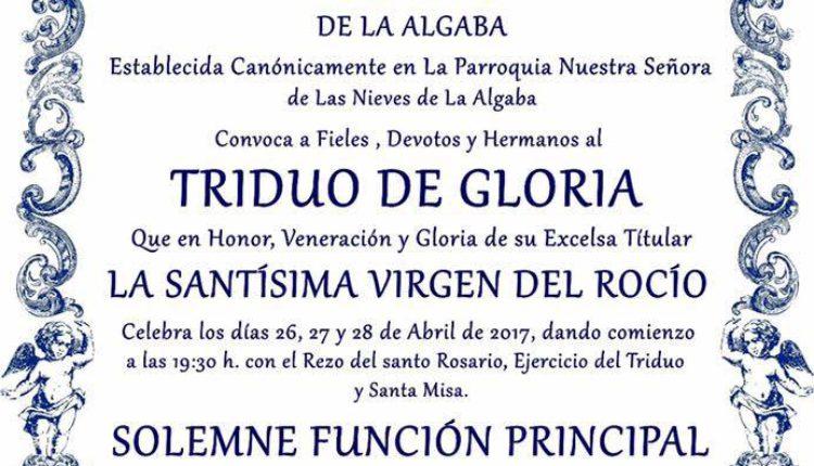 Hermandad de La Algaba – Solemne Triduo